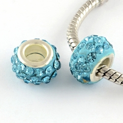 Polymer Lehmrhinestone Perlen, Aquamarin