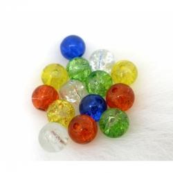 10 stk Crackle Perlen 6mm, Bohrung 1mm