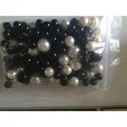 Budgetpack Perlen schwarz / Creme 8-14mm