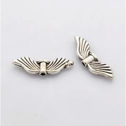 Flügel- Perlen, Antiksilbern, 21 mm x ..