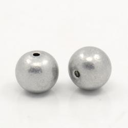 10 stk Aluminium-Perlen, Grau, 8 mm, L..