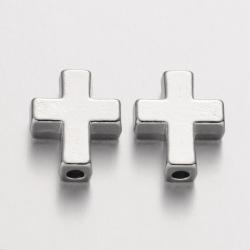 Kreuz-Perlen, Platin Farbe, 15x12x5 mm..