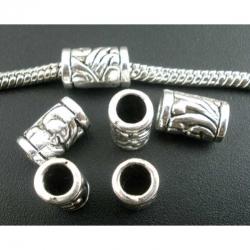 Großlochperlen Zylinder Antik Silber, ..