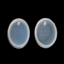 Silikon Gießform Oval Weiß 28mm x 21mm
