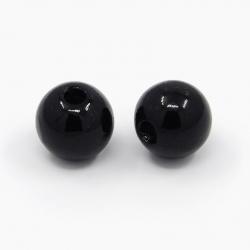 10 stk Acrylperlen schwarz, 10 mm, Boh..