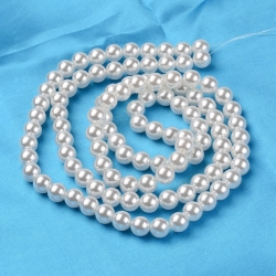 Acrylperlen, weiß, 16 mm, Bohrung: 2 mm