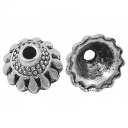 Perlenkappen, Antiksilberfarbe, ca. 10..