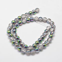 Galvanisieren Crackle Glas-Perle, halb..