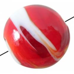 Murano Glas Perlen, Flachrund, rot, 20..
