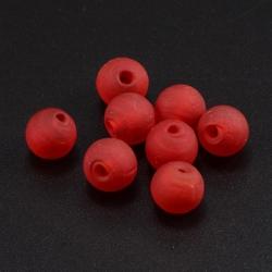 Glasperlen mattiert, rot, 14 mm, Bohru..