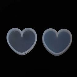 Silikon Gießform Herz Weiß 35mm x 31mm