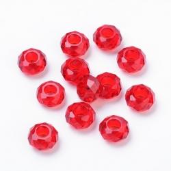 Glasperlen rot, ca. 14x8 mm  Bohrung: ..