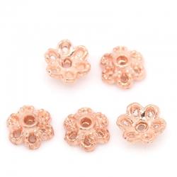 10 stk Kappen Blumen Rosegold, für 8mm..