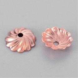 10 stk Perlenkappen, Roségold, 7x2 mm,..