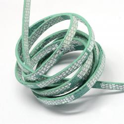 Kunstlederschnur, Hell Seegrün, 5x2 mm..