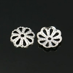 10 stk Perlenkappen, Silberfarbig, 10 ..
