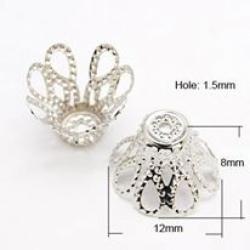 10 stk Perlenkappen, Platin Farbe, 12x..