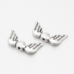 Flügel mit Herz, Antik Silber Farbe, 1..