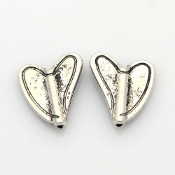 Herz Perlen, Antik Silber Farbe, 15x12..