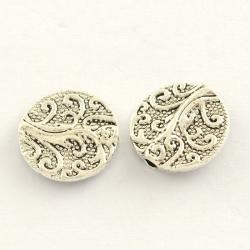 flachrunde Metall-Perlen, Antiksilber ..
