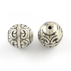 Perlen,  Antik Silber Farbe, 12 mm, Bo..