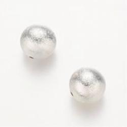 matte Perlen, Silberfarbig, 14 mm, Boh..