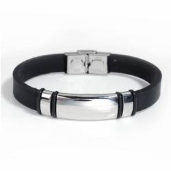 Edelstahl & Silikon Blank Armband Silb..