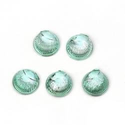 10 stk Acrylcabochon grün Feder  6mm