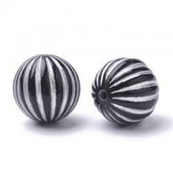 Acryl-Perlen, schwarz silbern plattier..