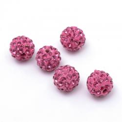 Polymer Ton Strass Perlen, Runde, pink..