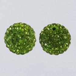Polymer Ton Strass Perlen, Olive, 12 m..