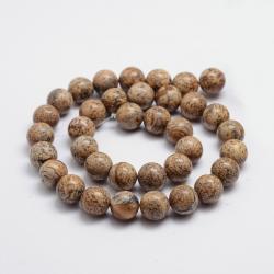 Natürliche Bildjaspiss Perlen, 6 mm, B..
