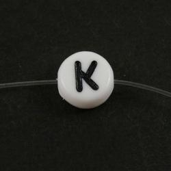 "10 stk Acryl Buchstabenperle ""K"" ca 7m.."