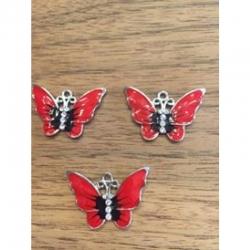 Schmetterling rot mit Strass 22x32x2mm