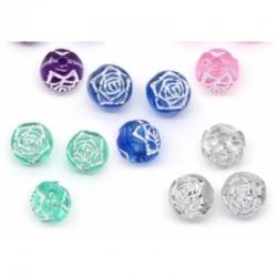 10 stk Acrylperlen Rose 8mm farblicher..