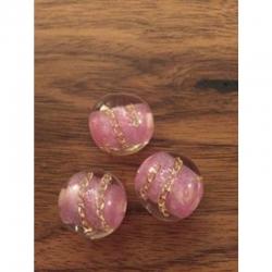 Kunststoffperle rosa 20mm, mit Goldver..