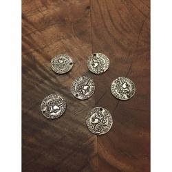Münze antiksilber flachrund, 15x1mm, b..