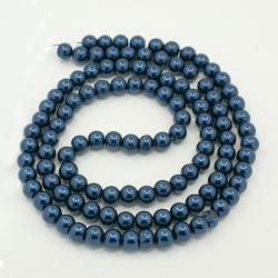 Glas Perlen  pearlized stahlblau 12 mm..