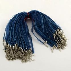 Organzacollier blau, mit verlängerungskettchen