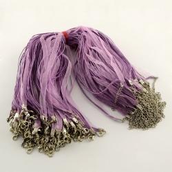 Organzacollier lila, mit verlängerungskettchen