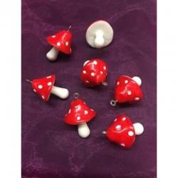 Fliegen-Pilz, rot, resin, 34x22x22 mm, Bohrung: 2 mm