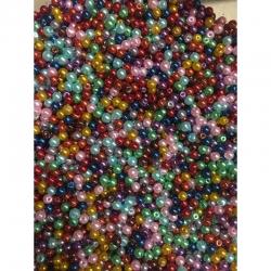 10 stk Glaswachsperlen 4mm, farben zufällig gemischt,