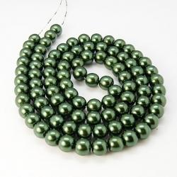 1 Strang Glasperlen  dunkelgrün,10 mm,  Bohrung: 1 mm,
