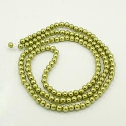 1 Strang Glas Perlengelbgrün, 14 mm , Loch: 1 mm,