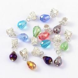 5 stk Perle mit Anhängerschlaufe,  Silberfarben, Größe: ca. 8 mm breit, 29 mm lang, Loch: 4.5 mm