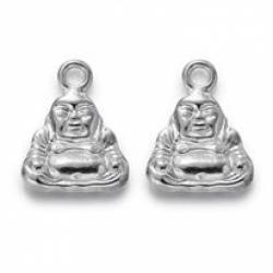 Buddha, Cadmiumfrei und Nickel frei und Bleifrei, Silbern Silberfarbig, 20x16.5x5 mm, Bohrung: 3 mm