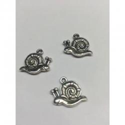 3d Schnecke Antik Silber, 15x19x3 mm, Bohrung: 2 mm