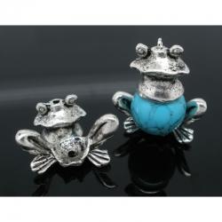 Antiksilber Frosch Ende Kappen 14*13mm für 12-14mm Beads