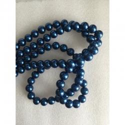 Wachsglas-Perlen blau