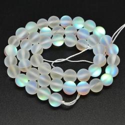 Synthetischen Mondstein, gefrostet, gefärbt, Transparent, 12 mm, Bohrung: 1 mm; ca. 33 Stk. / Strang